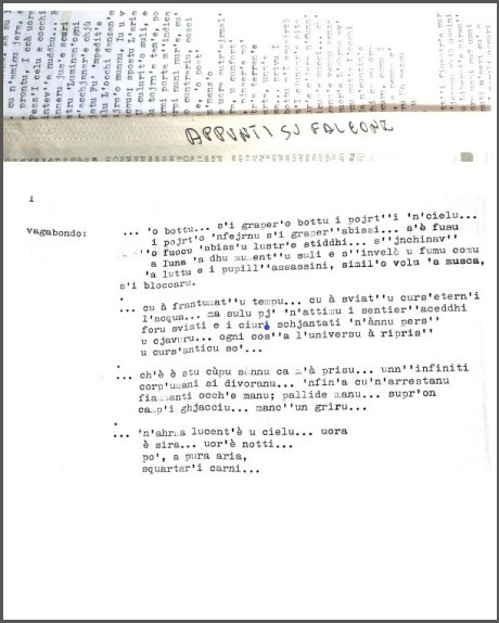 """Franco Scaldati """"Appunti su Falcone"""", foto dattiloscritto originale"""