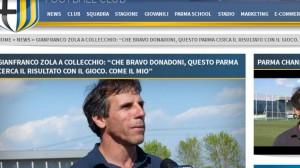 Zola a Collecchio sulla home del Parma calcio