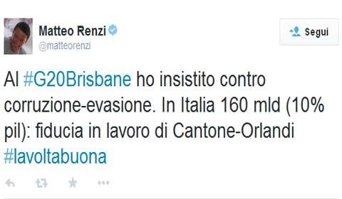Ecco il tweet di Matteo Renzi