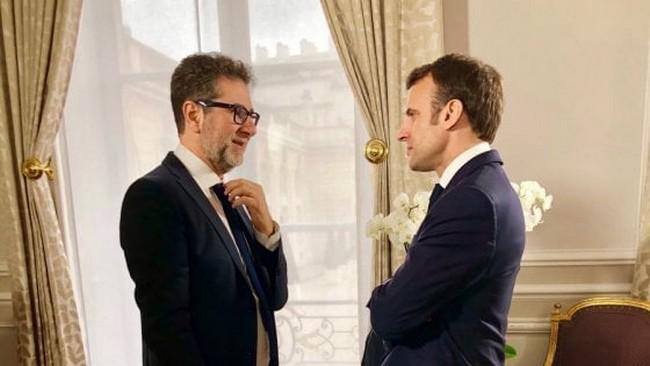Fazio con il presidente Macron