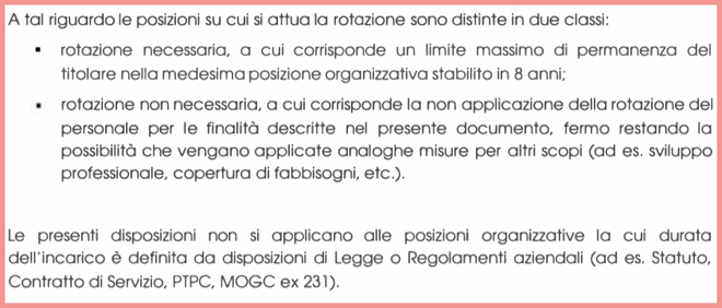 Le Linee guida per la rotazione del personale (articolo 3)