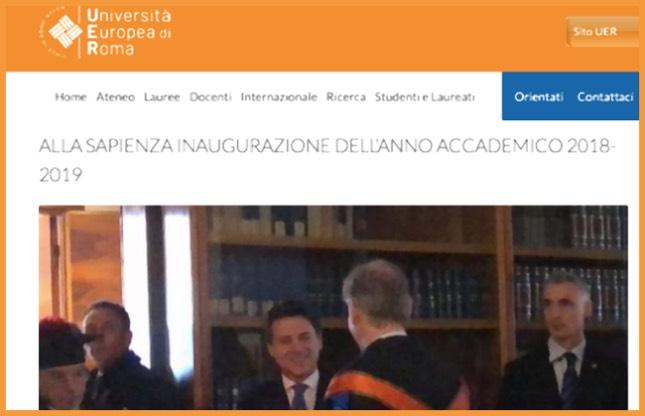 Università Europea, Conte saluta Gambino all'inaugurazione dell'anno accademico 2018