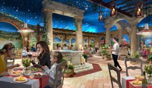 UNo dei ristoranti previsti al Ferrari Land