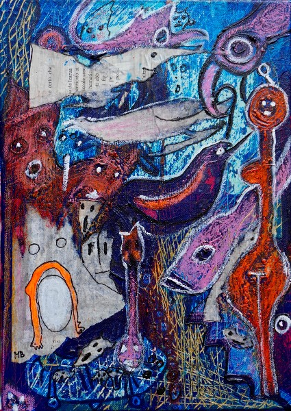 The Wuhan Market (mixed media on canvas  35 x 25 cm), di Mary Blindflowers©