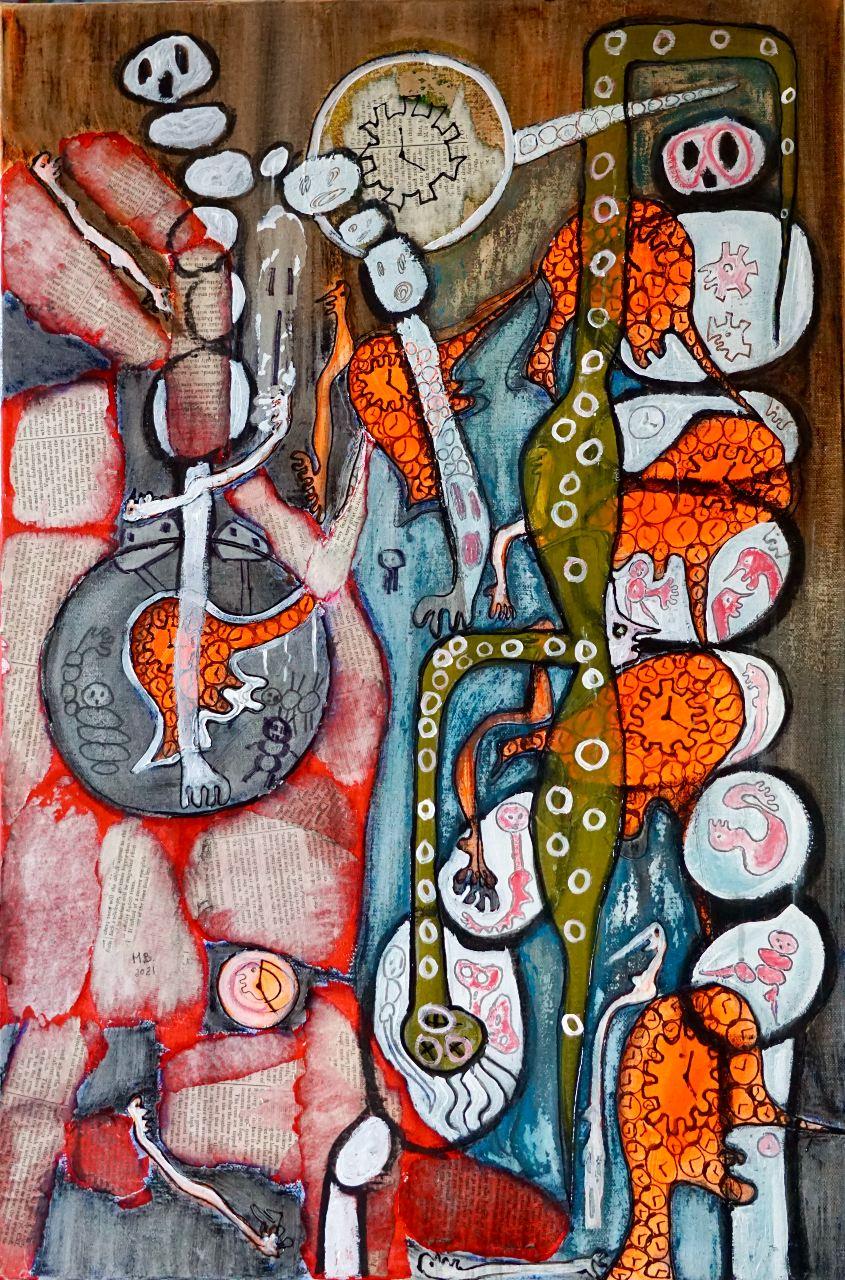 Riflessioni invernali di un albero cavo, tecnica mista su tela, 76 x 51 cm. di Mary Blindflowers
