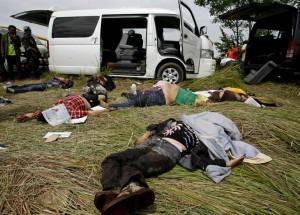 Corpi dei giornalisti assassinati nel massacro di Maguindanao del 2009