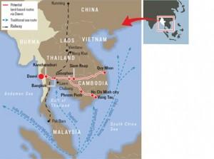 Mappa del sito di Dawei in Birmania