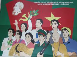 Poster della propaganda comunista vietnamita