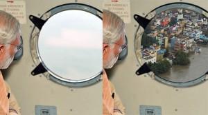 L'oblo' di Modi prima e dopo il ritocco
