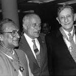 Danielou con Ravi Shankar premiati dal governo francese