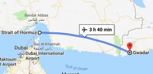 Mappa del porto di Gwadar e dello stretto di Hormuz