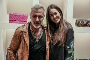 Gianluca vacchi eSharon Fonseca all'evento Vestiaire Collective