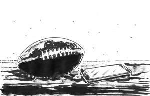 Pallone e telefono a terra