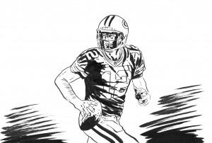Aaron Rodgers nel disegno per Repubblica di Lorenzo Ruggiero
