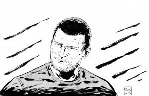 Brock Olivo nel disegno per Repubblica di Lorenzo Ruggiero
