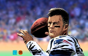 Brady con la maglia dei Patriots nel disegno di Lorenzo Ruggiero e Massimo Rocca per Repubblica