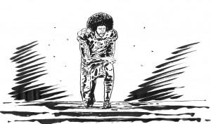 Colin Kaepernick nel disegno di Lorenzo Ruggiero