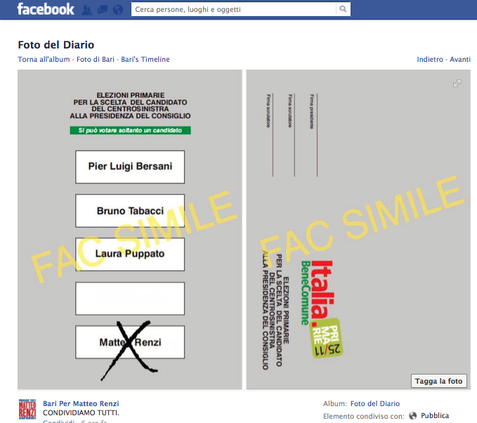 Screen shot Bari per Renzi