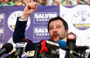 Matteo Salvini commenta i risultati delle elezioni politiche nella sala stampa della Lega