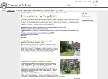Sponsorizzazione del verde pubblico - sito del Comune di Milano