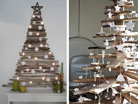 """Alberi di Natale...Naturali! - da """"www.topdreamer.com"""" (foto a sinistra); da """"www.cdn.designrulz.com"""" (foto a destra)"""