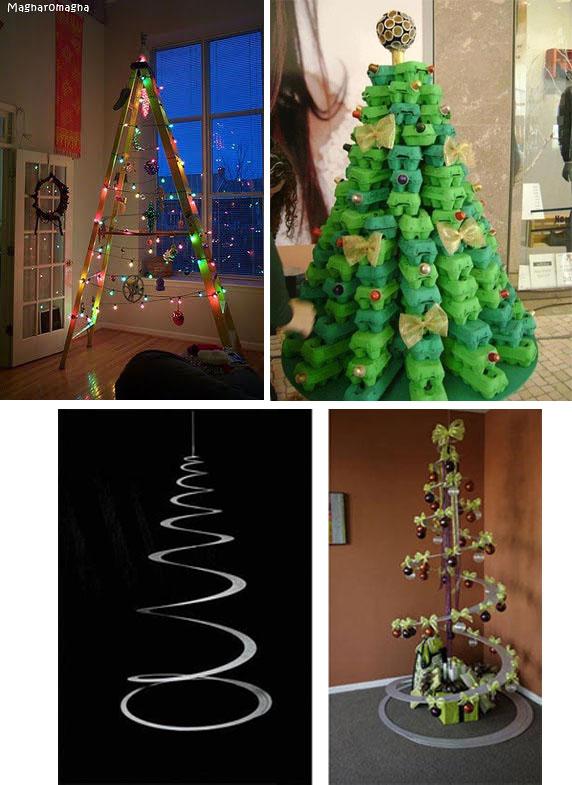 """Alberi di Natale insoliti... - da """"www.blog.naver.com"""" (foto in alto a sinistra); da """"'www.cdn.goodshomedesign.com"""" (foto in alto a destra); da """"www.pianetadonna.it"""" (foto in basso)"""