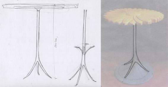 Tavolino Alice, schizzo - Disegno di proprietà dello Studio Pozzi