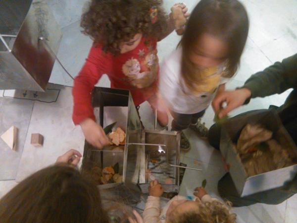 bimbi tritano con la cucina per piante