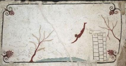 Lastra di copertura Necropoli di Tempa del Prete tomba del tuffatore