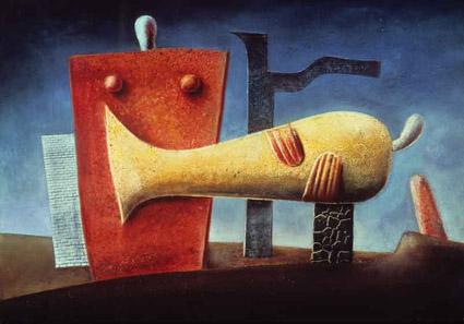 Max von Moos, Totenklage, 1936, tempera e olio su lastra di truciolato