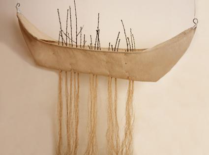 Chicco Margaroli, Navetta, canapa in filo, ferro cotto, gemme di pruno selvatico, lamina d'argento, 2012