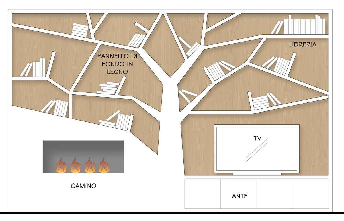 Ante Per Libreria Cartongesso la parete attrezzata per il soggiorno - il progetto in una