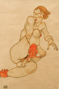 Egon Schiele Nude with raised leg
