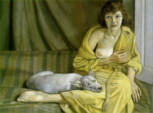girl with white dog -l. freud