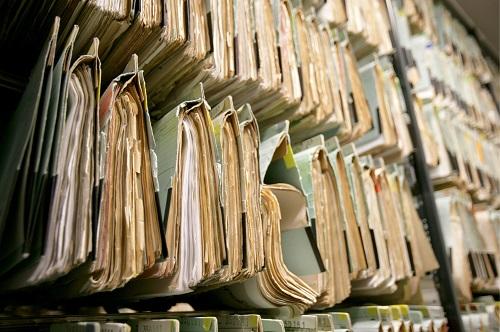 Shelves with folders.