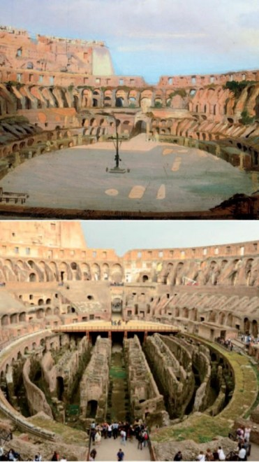 The Colosseum now (below) and how it could look (above)