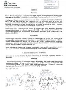 La mozione antivisezionista del Consiglio Comunale di Verona - 23 marzo 2013