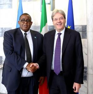 Il PM Sharmarke e il Ministro degli esteri Gentiloni