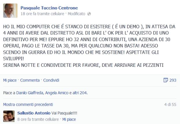 L'sos lanciato da Tuccino sulla bacheca di Facebook