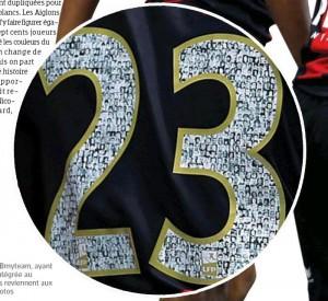 La pagina dell'Equipe con la foto del numero 23 di Alexy Bosetti del Nizza, che ha le facce dei tifosi all'interno