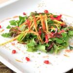Insalatina di bastinaca e vegetali selvatici semi tostati e fiori con emulsione alla melagranata (Amula cucina creativa)