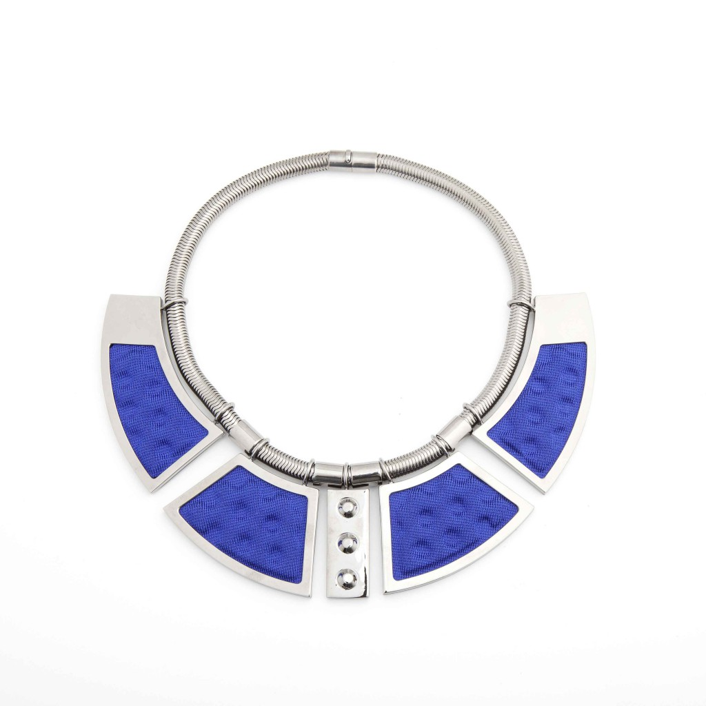 'Geometrie'-Necklace-Ruthenium-plated-Brass-and-Blue-Knit-