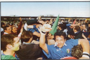 Cocco Mazzariol festeggia a Grenoble il 22 marzo 1997