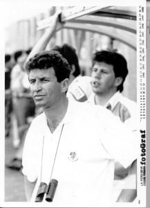 Wayne Smith allenatore della Benetton con un giovane Troncon alle spalle