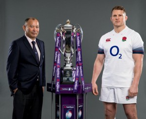 Eddie Jones con capitan Dylan Hartley