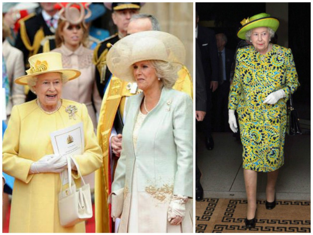 A Sx: completo indossato in occasione del matrimonio di William & Kate Middleton; a dx: abito indossato per la cerimonia in onore dei suoi sessant'anni di regno.