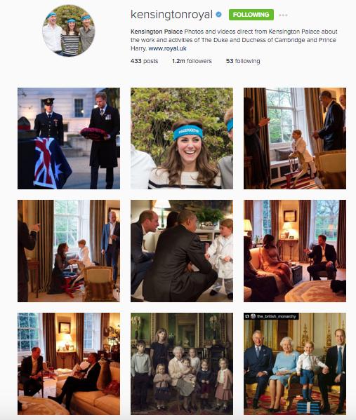 Kensington Royals (Kate, Will & Enry) Instagram
