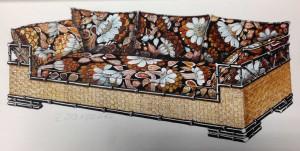 disegno di un mobile dall'archivio Giorgetti