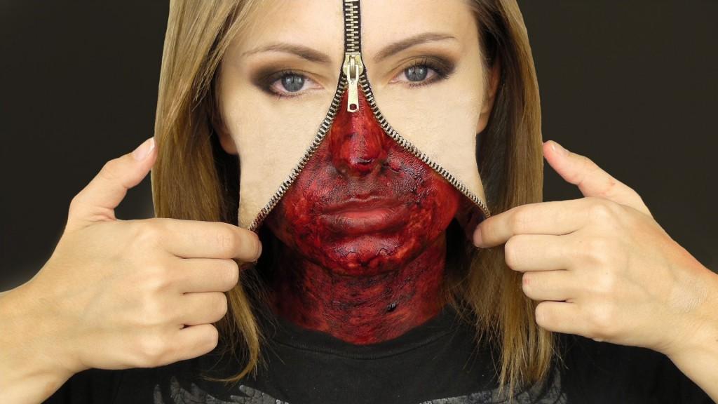 Halloween zipper makeup
