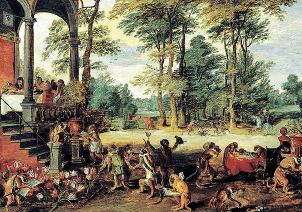 """Nel dipinto satirico di Jan Bruegel il Giovane la """"bolla"""" borsistica dei tulipani, in Olanda a metà del Seicento"""